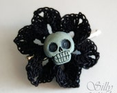 hairpin - Fleur Du Mal - crochet, handmade, handmade skull, gothic, neovictorian, dark, mourning, rockabilly, gothabilly