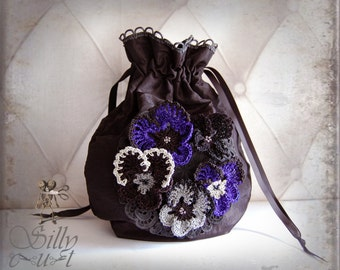 drawstring pouch bag - crochet pansy flowers - gothic, mourning, victorian, black, blue, purple, romantic, evening, opera, ball, fancy, ooak