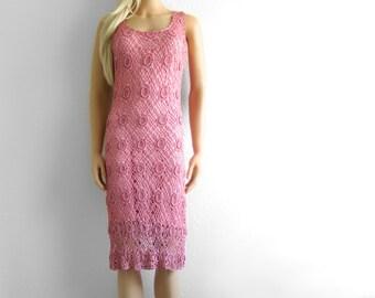 Crochet Dress Women Crochet Dress xs Lace Dress Lace Crochet Dress Floral Dress Beaded Dress Crochet Lace Dress Pink Dress xs Dress