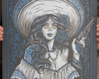 Las Bandidas - Silk Screen Art Print - Grey Varient