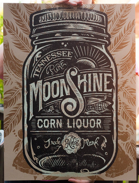 Aldo's Tennessee Moonshine Corn Liquor - Screen printed Poster