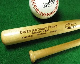 Personalized Engraved Baby Bat, Birth Announcement Baseball Bat, Baseball Bat Keepsake, Baby Boy Gifts , Baby Shower Gift, Baseball Fans