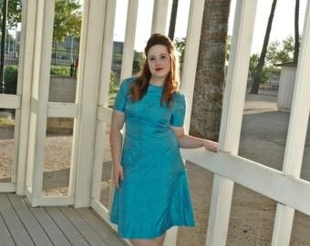 Vintage 60s Irrediscent blue mod dress