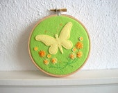 Embroidery Hoop Art Yellow Felt Butterfly with Hand Embroidered Flowers and Sequin Flowers