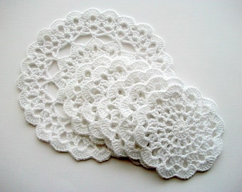 Crochet Coaster Set White Cotton Lace 6 Pieces Heirloom Quality