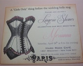 Lingerie Shower Invitation, Vintage Paris Bachelorette - Set of 10