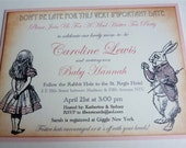 Baby Shower Invitations, Vintage Style Tea Party, Pale Pink - Set of 10