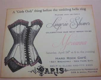 Lingerie Shower Invitation, Vintage Paris Bachelorette - Set of 10