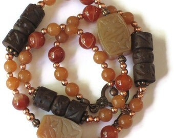 Red Aventurine Agate Jewelry Set, Bracelet Necklace, Gifts for Women Mom Wife Sister Daughter Grandma Under 75, Stocking Stuffers