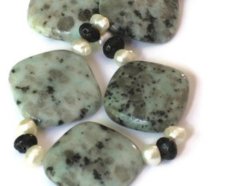 Jasper Freshwater Pearl Necklace, Gifts for Women, Gifts Under 50, Gifts for Mom, Christmas, Black Friday, Cyber Monday