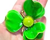 vintage large neon green ish flower brooch pin, large green pin, large green flower brooch CS513
