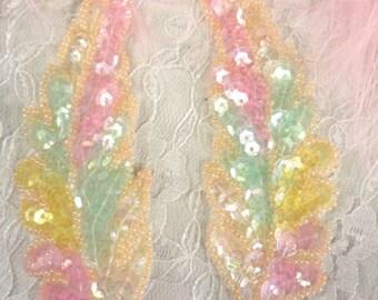 "FS760  Pastel Leaf Mirror Pair Beaded Sequin Appliques 4"" (FS760-past)"
