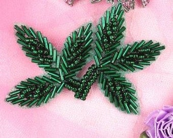 "FS566 Green Beaded Leaf Applique 3.5""   (FS566-gr)"