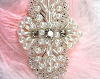"""FS04 Silver Pearl Beaded Rhinestone Applique 2.75"""" Sewing and Crafts Motif FS04-slp"""