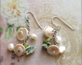 Shell Earrings Green Stone Earrings Shell Gemstone Earrings, Freshwater Pearls Chrysopase Sterling Silver  Spring Sale