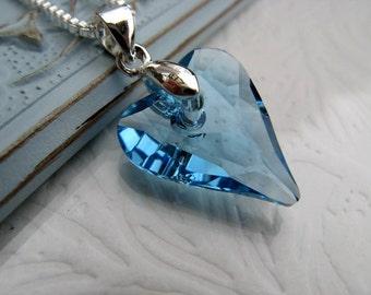 Aquamarine Swarovski Heart Necklace, Sterling Silver