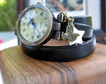 Sale - Wrap Around Black Leather Wrap Watch or Red Wrap Around Wrist Watch - Star Bird Charm - Mother of Pearl - Watch