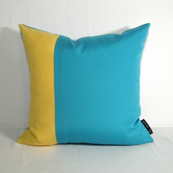 SAMPLE SALE - Blue Yellow Pillow Cover - Decorative Outdoor Cushion - Modern Colorblock Turquoise Buttercup Sunbrella - 16 inch
