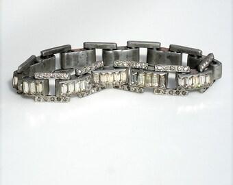Art Deco Rhodium Silver Bracelet - Vauxhall Style Glass Stones