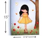 """Kids canvas print, children wall art ,ballerina, nursery decor, 12""""X15"""""""