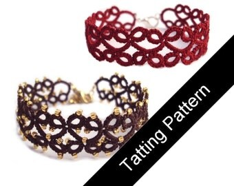 PDF Tatting Pattern Lillian Bracelet , With and Without Beads - Intermediate - Instant Download