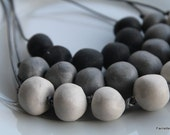 Grey, White and black clay beaded statement  necklace