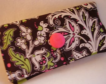 Hot Pink, Lime Green   Checkbook Cover , Vinyl Insert, Coupon, Wallet, Organizer Case