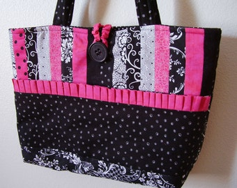 Super Cute Black and Hot Pink - Tote  Purse Bag