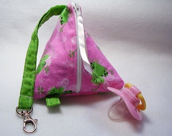 Pink and Green  Baby Pacifier/Small Bag/ Zippered/Triangle/Pyramid/ Pouch/ Phone Pod/Purse/Coin Purse/Gift Bag/ Wristlet