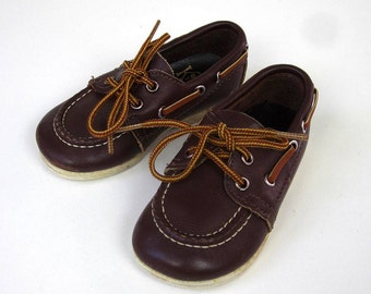 Child Size 4 Brown Leather Boat Shoes 70s / Vintage Kinney Shoes