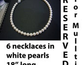 """Reserved for mullti 6 Necklaces Classic White Elegant 18KGP 8mm Swarovski Pearl Necklace 1 strand 18"""" 27 Colour Choices"""
