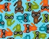 Woodland Pals Anne Kelle Forest Animals RK Fabric MultiColor Raccoons Raccoon on Aqua Blue