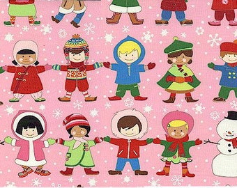 oop htf one yard Christmas Time You Me Merry Fabric Snowmen and Children Holding Hands on Pink alexander henry