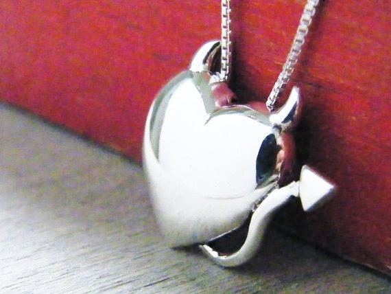 devil heart necklace sterling silver pendant