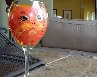 Orange glass wine glass