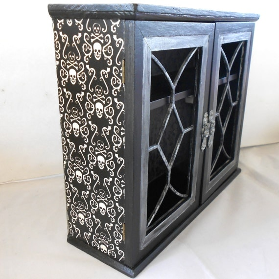 gothic home decor gothic cabinet skull and by nacreousalchemy