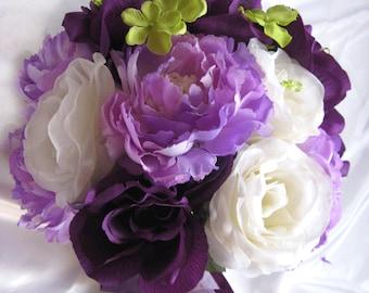 "Wedding Bouquet Bridal Silk flowers 17 pieces package Plum PURPLE LAVENDER GREEN Cream Free shipping decoration ""RosesandDreams"""