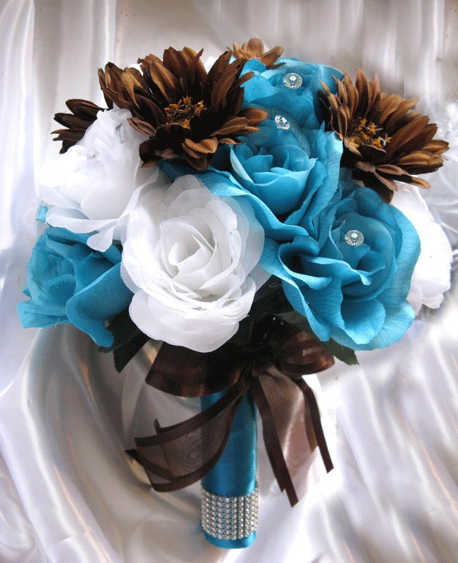 Turquoise Flowers For Wedding: Wedding Bouquet Bridal Decoration Silk Flower TURQUOISE BROWN