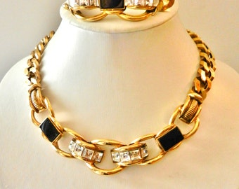 Outstanding  Vintage  - beautiful chain, and magnificent crystals-collier necklace & bracelet set-Gorgeous Italian couture--Art.264/2 --