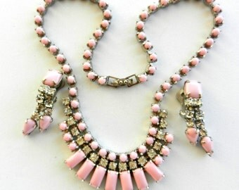 Grandiose 1950s demi parure  - Beautiful crystals deep pink and white crystals on silver -necklace choker & earrings set - art.656/2-