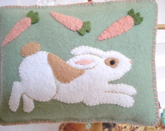 Bunny ornament or decoration for Spring or Easter from wool felt with french ribbon hanger