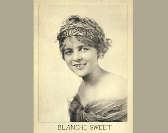 Hollywood Starlet Photograph, Silent Screen Movie Star Blanche Sweet. Promotional Photo 1920s. Beaded Headband