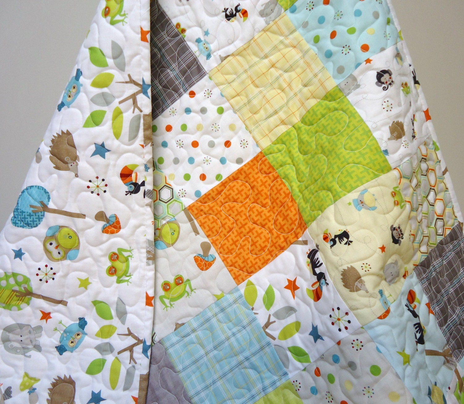 Baby Boy Quilt Patterns Set : Baby Quilt Baby Boy Crib Bedding Life in the Jungle Owls