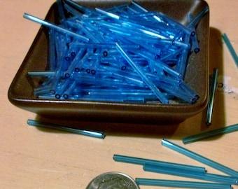 Vintage super  long 30mm  bugle  tube beads Aqua  Blue   needle beads