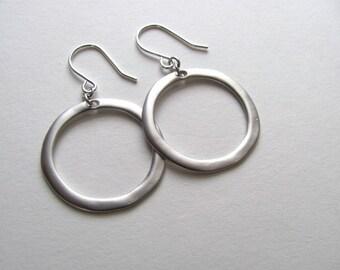 Silver hoop earrings, matte silver on sterling plate fixtures, drop circle earrings