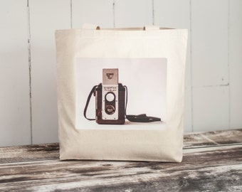 The Argoflex - Vintage Camera Photograph on a Natural or Black Canvas Bag - School Bag - Carryall Tote