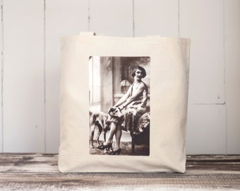 The Flapper and Her Greyhound - School Bag - Natural or Black - Canvas Bag - Vintage Photograph - 1920's - Carryall Tote