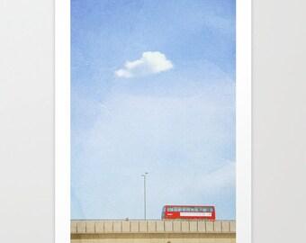 Oversize Art // Large Travel Photography // Large Living Room Art // London Print, London Art, London Double Decker // Red Bus