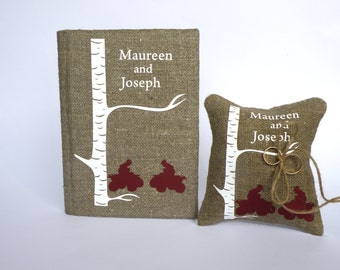 Set of 2 peaces Wedding rustic Burlap guest book and ring pillow White birch tree and quad bikes