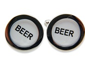 Beer Cufflinks Cash Register Key Cufflinks -White  BEER Keys - by Gwen DELICIOUS Jewelry Design